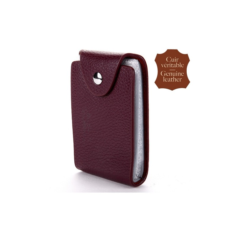 Porte carte Prune cuir vertical