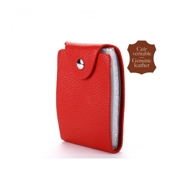 Porte carte Rouge cuir vertical