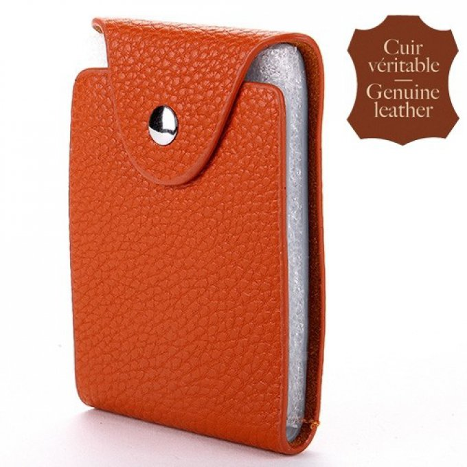 Porte carte orange cuir vertical